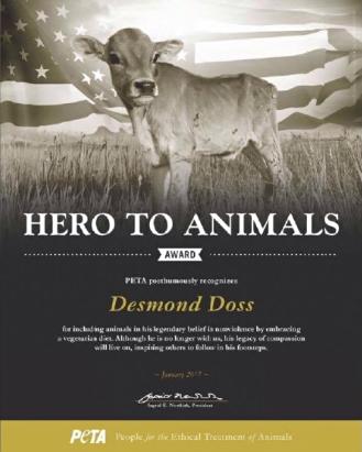Desmond Doss PETA award, vegetarian diet, Desmond Doss award